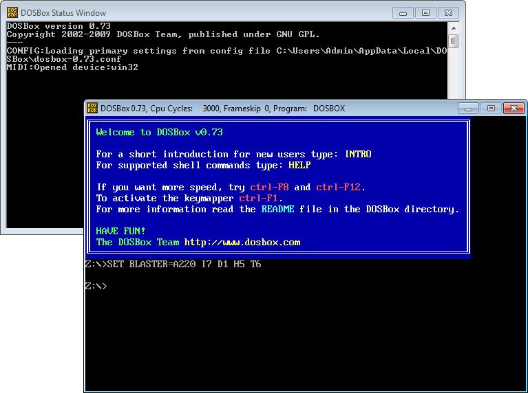 DOSBox en ejecución (ventana principal y ventana de estado)