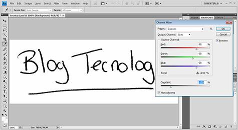 Firma con Mezclador de Canales en monocromo Photoshop