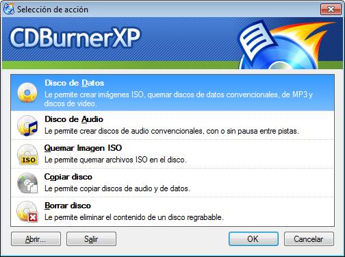 CDBurnerXP - Ventana inicial - Selección de acción