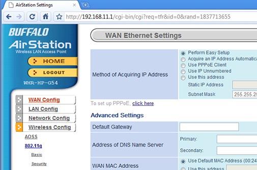 Interfaz Web - Buffalo airstation WHR-HP-G54 - vista previa