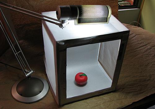 Caja de luz casera (light box, light tent)