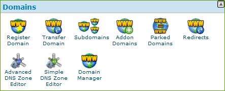 Grupo Domains en cPanel