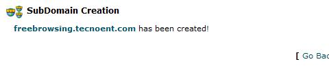 confirmación SubDominio creado cPanel