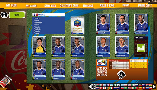 Panini virtual sticker album FIFA 2010 South Africa