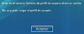 Error en el Servicio de perfil de usuario al iniciar sesión