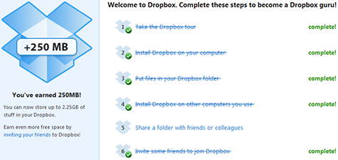 Dropbox earned 250MB