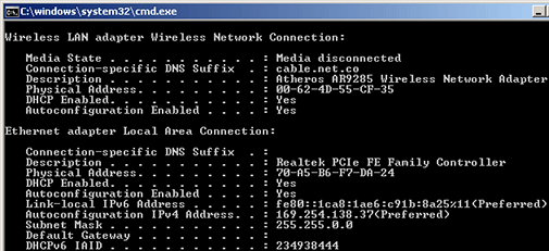 IPConfig - Windows (Command Prompt)