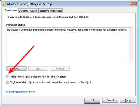 Advanced Security Settings for Desktop - Permissions