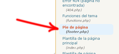 Wordpress Apariencia Editor footer.php