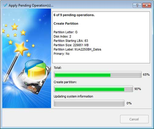 Apply Pending Operation(s) - Partition Wizard