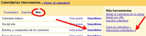 Calendarios interesantes - Eventos y cumpleaños de los contactos Google Calendar