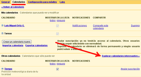 Explorar calendarios interesantes Google Calendar
