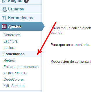 Wordpress: Ajustes > Comentarios