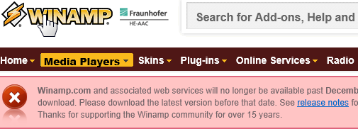 Winamp no disponible para descargas a partir de Diciembre 20