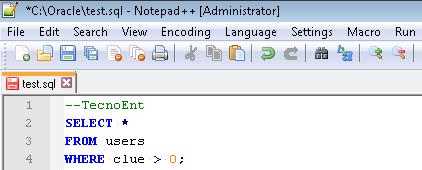 Notepad++ SQL