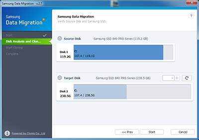 Samsung Data Migration - Seleccionar Origen - Destino